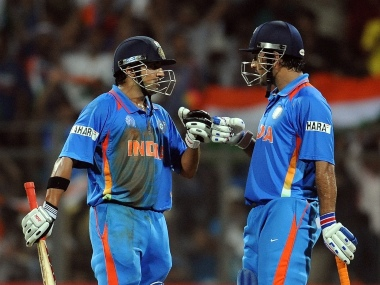 Gautam Gambhir (L) and MS Dhoni shared 89-run stand for the fourth wicket in the 2011 World Cup Final in Wankhede. AFP