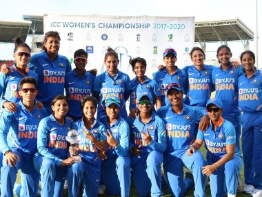 India Women's cricket team pose with trophy after beating West Indies in the ODI series. @BCCIWomen