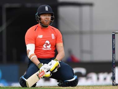 Jonny Bairstow reacts during England's match against New Zealand. AP