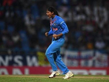 India's Radha Yadav took one wicket for eight runs in her two overs. @ICC