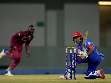 Afghanistan's Rahmanullah Gurbaz plays a shot during the third T20 international against West Indies. AFP