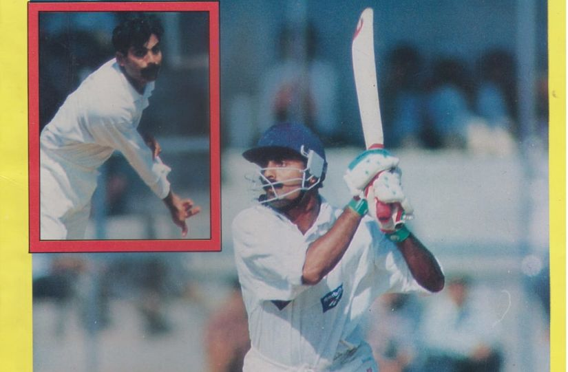 Rajesh Sutar in action against the Australians in the 1998 practice match at Brabourne. Image courtesy Rajesh Sutar
