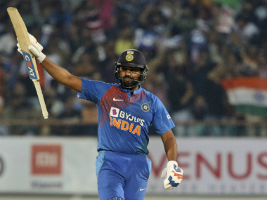 Rohit Sharma celebrated his 100th T20I appearance with a 43-ball 85. AP