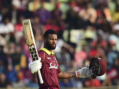 Shai Hope made 109 and built crucial partnerships including an unbeaten 71-run stand with Roston Chase. Image: Twitter @Windiescricket