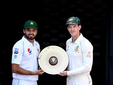 Pakistan Captain Azhar Ali and Australian Captain Tim Paine pose for a photo during a media opportunity ahead of the 1st Test between Australia and Pakistan at The Gabba. Getty