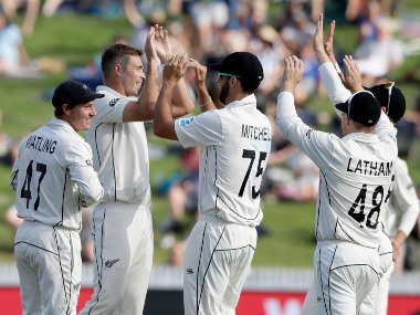 New Zealand's Tim Southee celebrates after taking the wicket of England's Dom Sibley on day two of second Test. AP