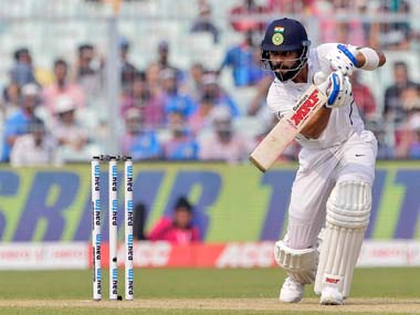 Virat Kohli in action on Day 2 of the pink-ball test between India and Bangladesh. AP