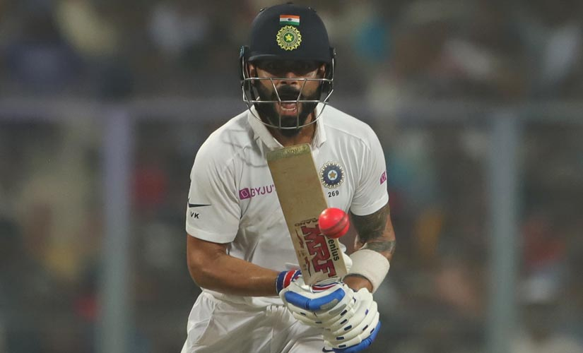 virat Kohli steadied India's ship after the departure of Rohit Sharma and Mayank Agarwal, playing a fierce knock of 59 off 93. Image courtesy: Sportzpics