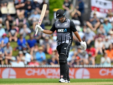 Colin de Grandhomme smacked a quickfire fifty to take New Zealand to a competitive total. AP