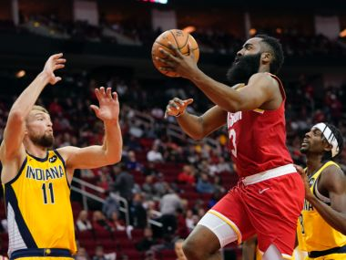 NBA James Hardens 44 points lead Rockets over Indiana Pacers 111102 Houston win six in a row