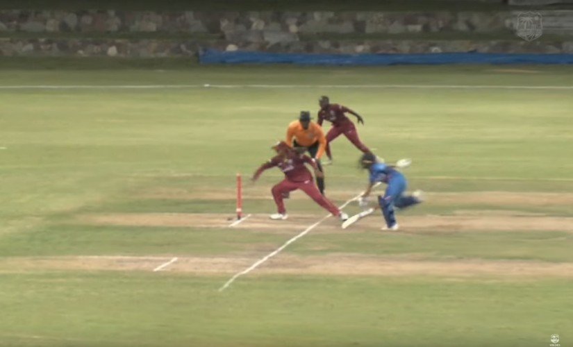 Poonam Yadav made a desperate attempt at getting back in the ODI against West Indies. Screenshot/West Indies Cricket Youtube