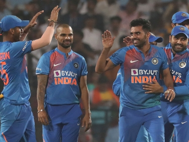 India's Deepak Chahar, second from right, celebrates his hat-trick with teammates after dismissing Bangladesh's Aminul Islam. AP