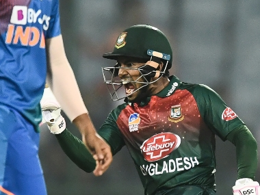 Bangladesh's Mushfiqur Rahim celebrates their victory in the first T20I against India. AFP