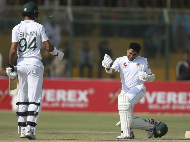 Pakistan's Abid Ali celebrates his century against Sri Lanka during the third day of the second Test match at the National Stadium in Karachi. AP