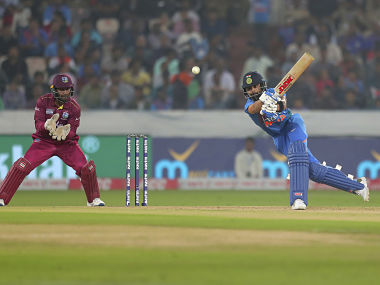 India captain Virat Kohli plays a shot during the first T20I against West Indies in Hyderabad. AP