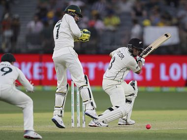 New Zealand's Ross Taylor bats as Australia's Tim Paine looks on during Day 3 of the first Test at Perth, last year. AP