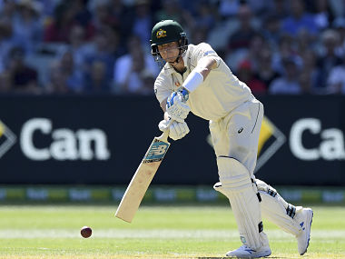 Australia's Steven Smith bats against New Zealand during play in their cricket test match in Melbourne, Australia, Thursday, Dec. 26, 2019. (AP Photo/Andy Brownbill)