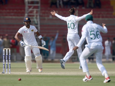 Pakistani bowler Shaheen Afridi appeal against Sri Lankan batsman Dinesh Chandimal during the second day of the second Test in Karachi, Pakistan, Friday, Dec. 20, 2019. Chandimal holds Sri Lanka's hopes of getting a meaningful first innings lead against Pakistan in the second test as the tourists moved to 170-6 at lunch on day two.(AP Photo/Fareed Khan)
