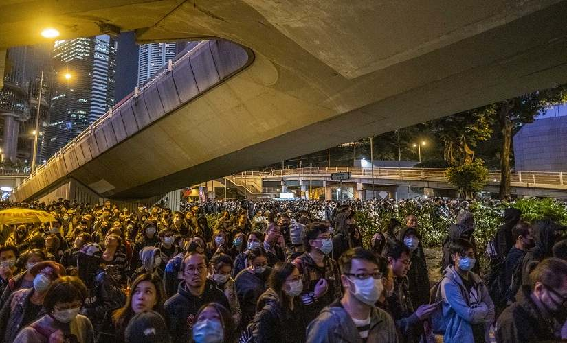 Largest Hong Kong protest in weeks stretches several miles signals movement is undeterred by police crackdown