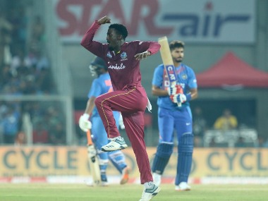 Hayden Walsh Jr of West Indies celebrates the wicket of Shreyas Iyer of India during the second T20I. Sportzpics