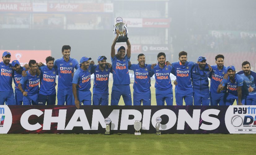 India's captain Virat Kohli, right, and team members celebrates after winning the ODI series against West Indies. AP