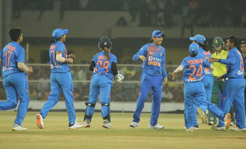 India women's cricket team in action during the home series against South Africa. Image credits @BCCIWomen