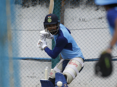KL Rahul trains in the nets ahead of the first one-dayer between India and West Indies. Image credit: Twitter/@BCCI