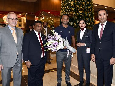 Sri Lanka Test squad led by Dimuth Karunaratne arrived in Islamabad to take part in a two match Test series. Image Courtesy: Twitter/@OfficialSLC