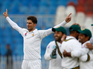 Pakistan's Shaheen Afridi celebrates with a wicket during the first Test against Sri Lanka at Rawalpindi. AP