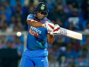 Shivam Dube in action for India against West Indies. AP