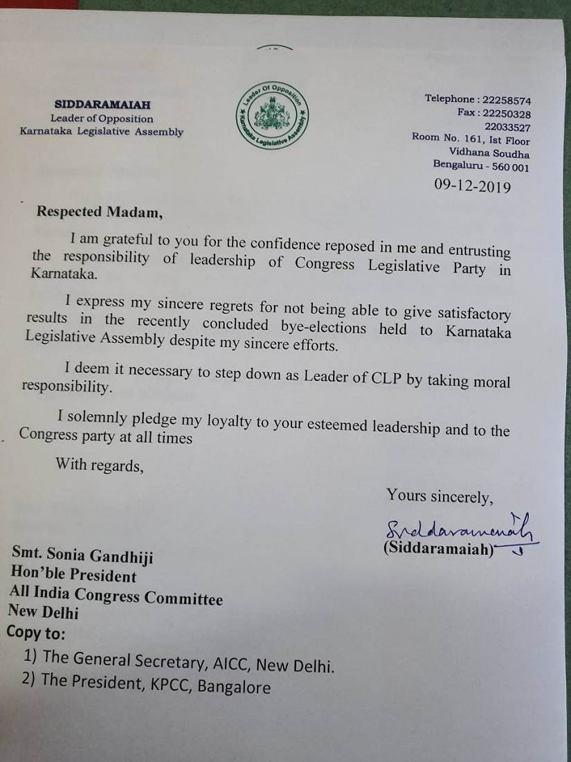 Karnataka Assembly bypolls Siddaramaiah resigns as legislative party leader after Congress goes down to defeat