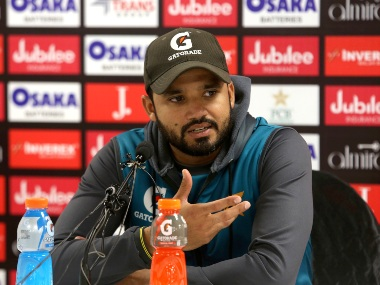 Pakistan cricket team captain Azhar Ali addresses during a press conference at the National Stadium in Karachi, Pakistan. AP