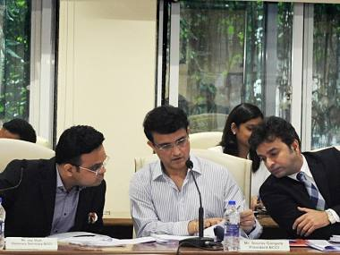Sourav Ganguly (C) and Jay Shah (L) during the BCCI AGM. Source: Twitter/BCCI