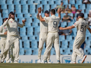 England's bowler James Anderson, second from right, celebrates with teammates after successfully appealing for the wicket of South Africa's batsman Aiden Markram on day two of the first Test in Pretoria. AP