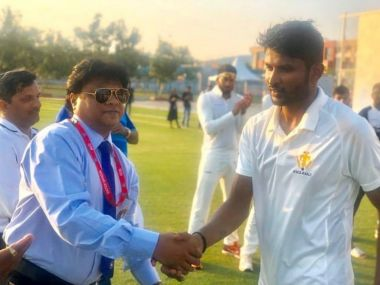 K Gowtham took 14 wickets against Tamil Nadu in round one fixture of Ranji Trophy. Source: KSCA Twitter
