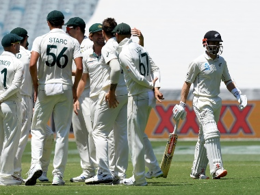 New Zealand's Kane Williamson walks off the field after being dismissed by Australia during their Test match in Melbourne, Australia. AP