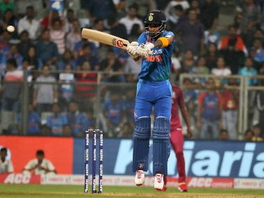 India's Lokesh Rahul bats during the third T20I against the West Indies in Mumbai. AP