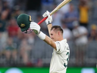 Australia's Marnus Labuschagne remained unbeaten on 110 at close on Day 1 against New Zealand in Perth. AP