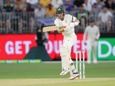 Australia's Marnus Labuschagne plays a shot during the first Test against New Zealand at Perth. AP