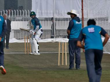 Pakistani skipper of test team Azhar Ali, center, attends a practice session with others for the first test match against Sri Lanka at the Pindi stadium in Rawalpindi, Pakistan, Monday, Dec. 9, 2019. (AP Photo/Anjum Naveed)
