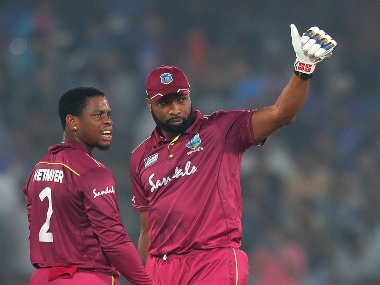 Kieron Pollard in action against India during the recently concluded T20I series. AP
