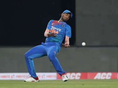 India's Washington Sundar drops the catch of West Indies' Lendl Simmons during the second T20I in Thiruvananthapuram. AP