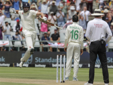 England's Dominic Sibley celebrates his century during Day 4 of the second Test between South Africa and England. AP