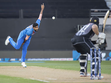 Indian's Jasprit Bumrah in action against New Zealand in the second T20I. AP