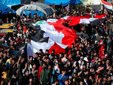 One killed after Iraqi security forces clash with antigovt protesters several rockets hit US embassy in Baghdad 3 injured