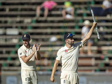 England's bowler Mark Wood celebrates after taking the winning wicket on day four of the fourth Test. AP
