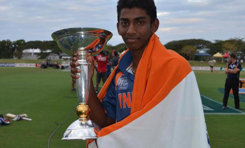 Baba Aparajith poses with the trophy. Image courtesy: Facebook