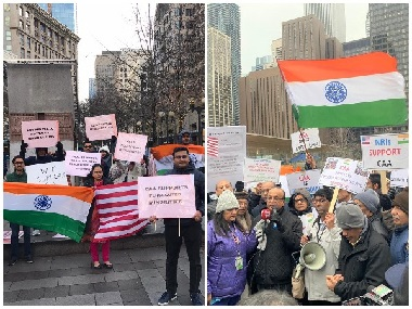 IndianAmericans hold proCAA rally in Chicago amid freezing temperatures sign memorandum thanking Narendra Modiled govt
