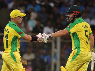 David Warner and Aaron Finch in action against India. AP