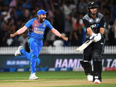 Rohit Sharma (R) celebrates the dismissal of Ross Taylor, which ties the third T20I before the Super Over comes in to effect. AP